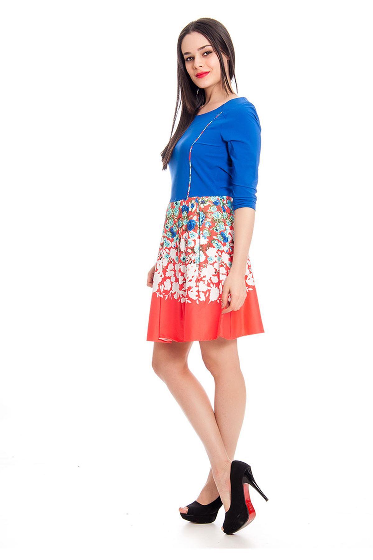 Mavi Çiçek Desenli Kadın Elbise F11-130358