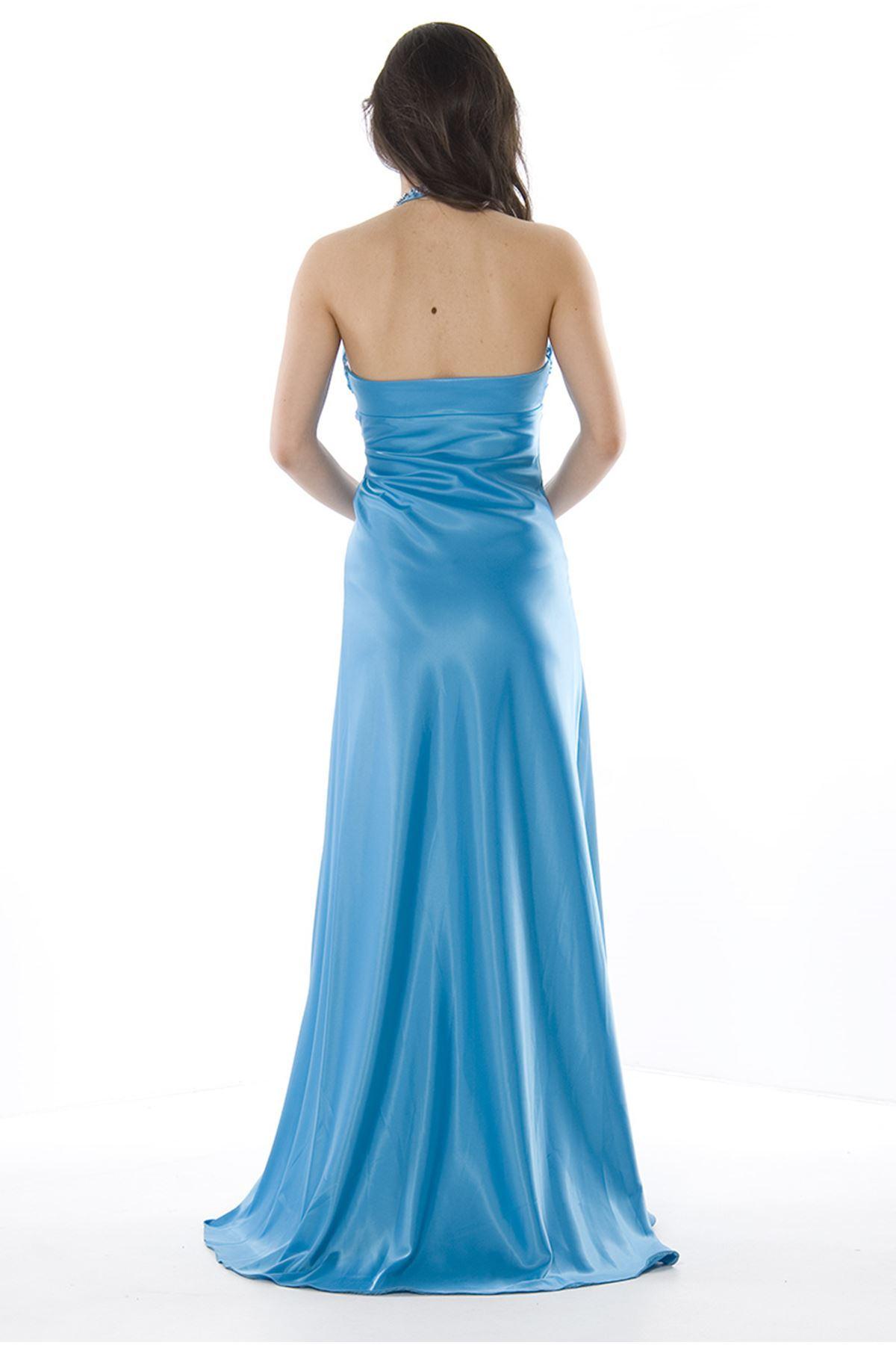 Mavi Uzun Taşlı Abiye I8-75877