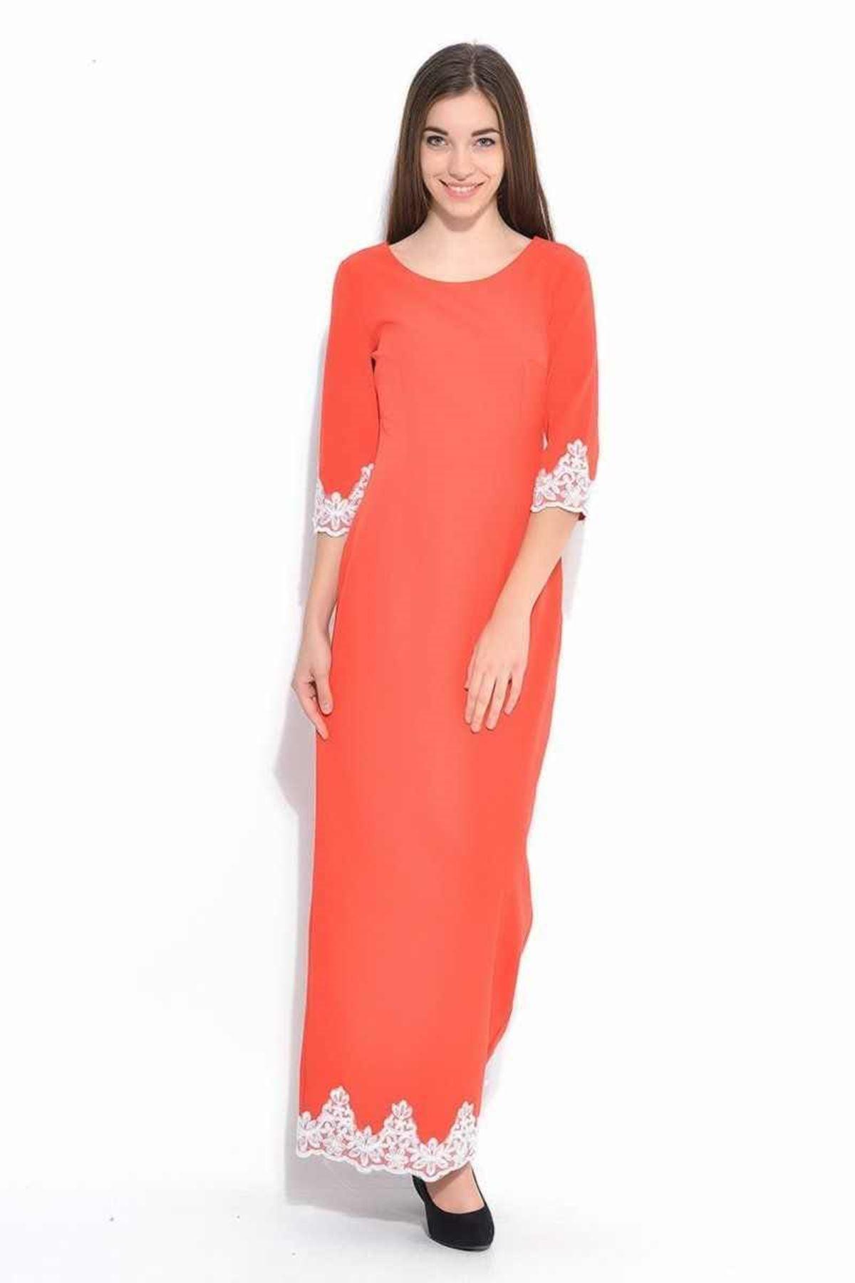 Mercan Boncuk İşlemeli Elbise K2-112029