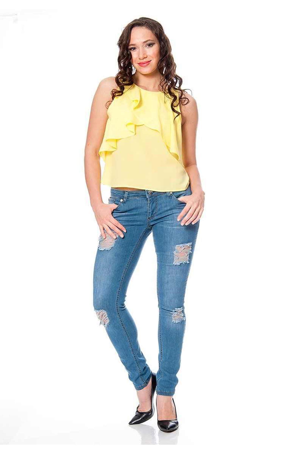 Mavi Yırtık Kadın Kot Pantolon 5A-110568