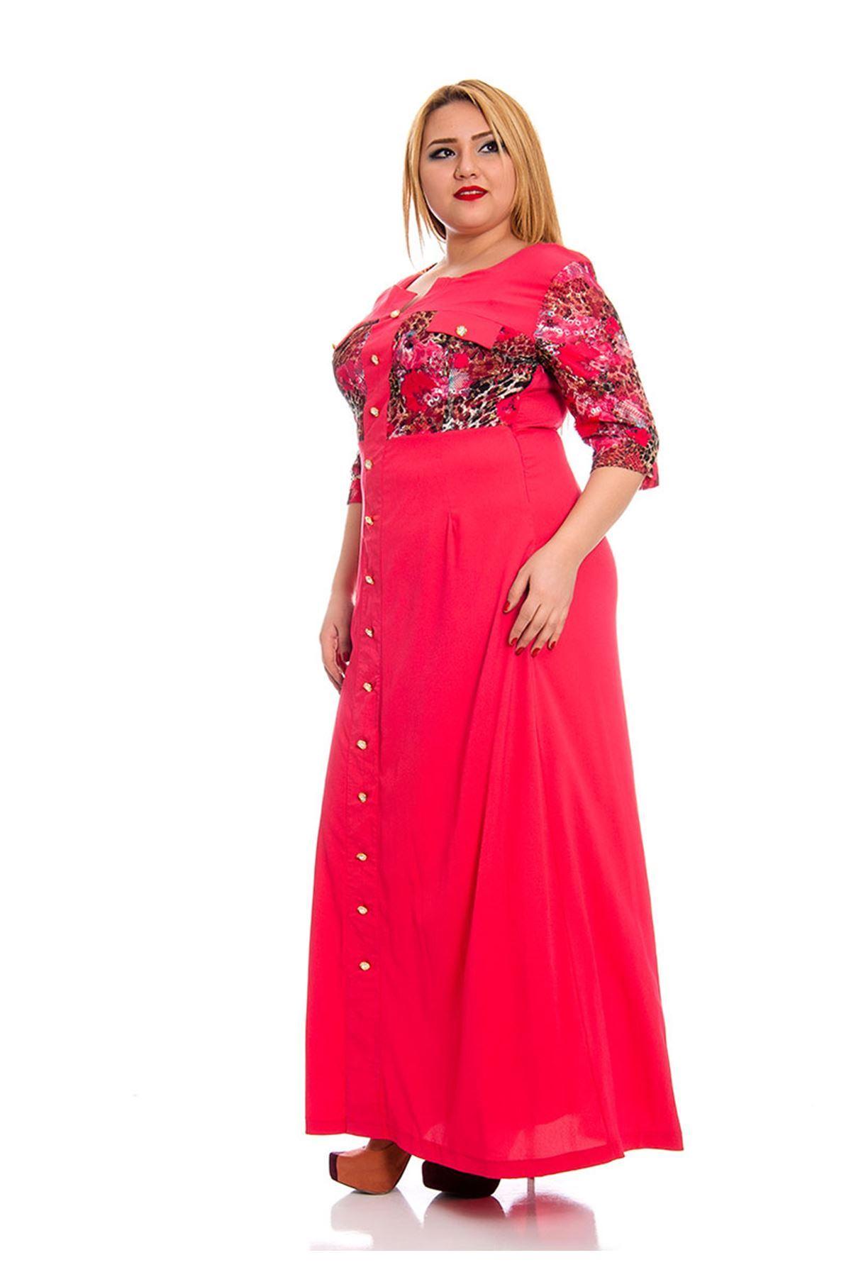 Mercan Düğmeli Kadın Elbise G8-132550