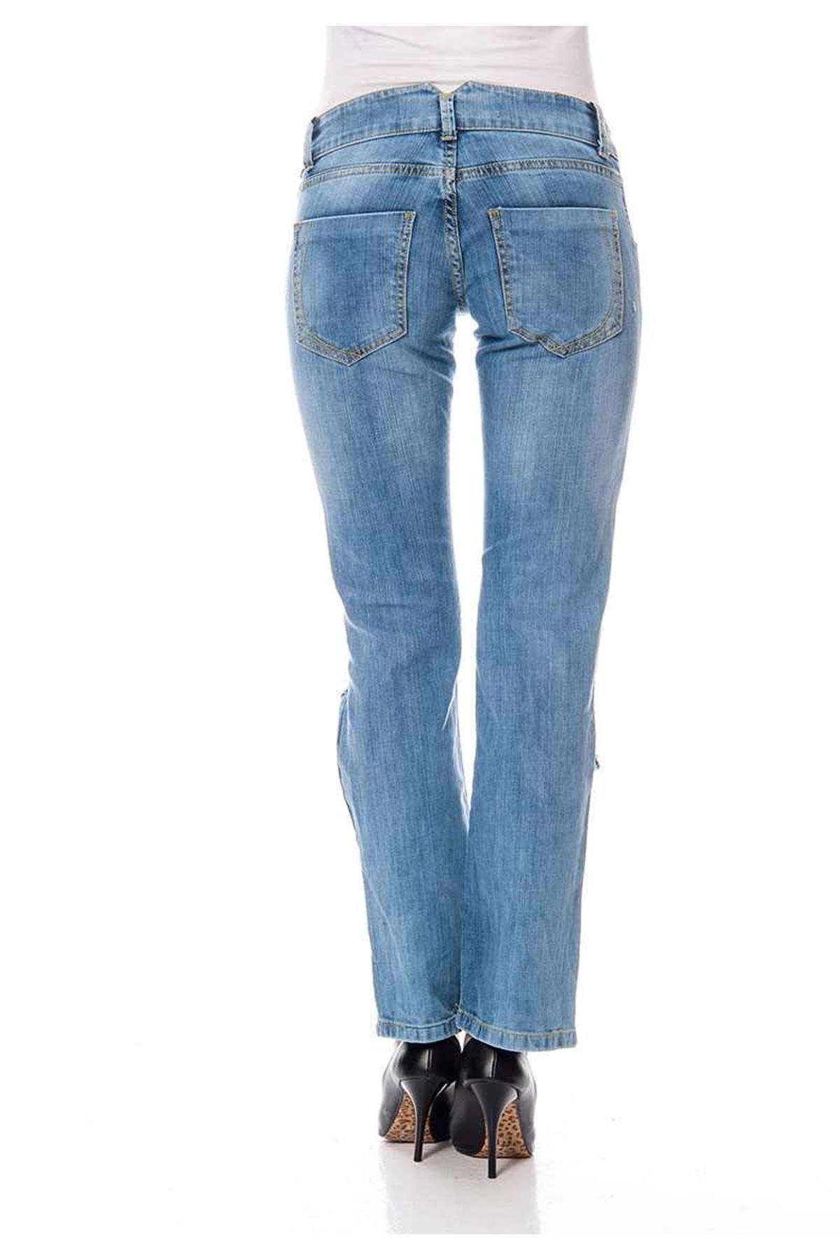 Mavi Yırtık Kadın Kot Pantolon 5A-116461