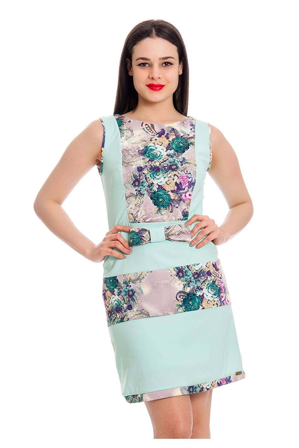 Mint Yeşili Desenli Elbise F8-130502