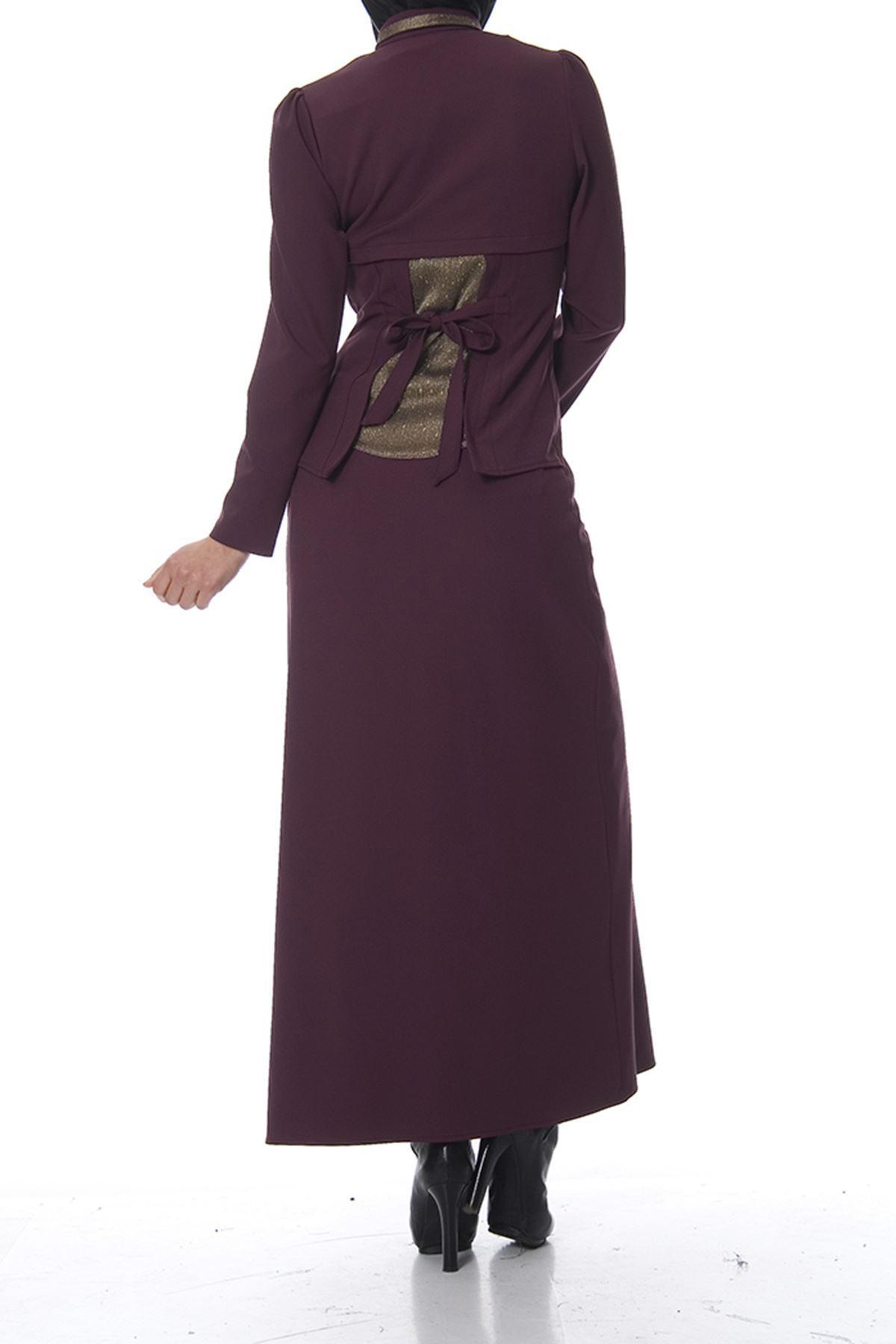 Mürdüm Nakış Detaylı Elbise K7-100474