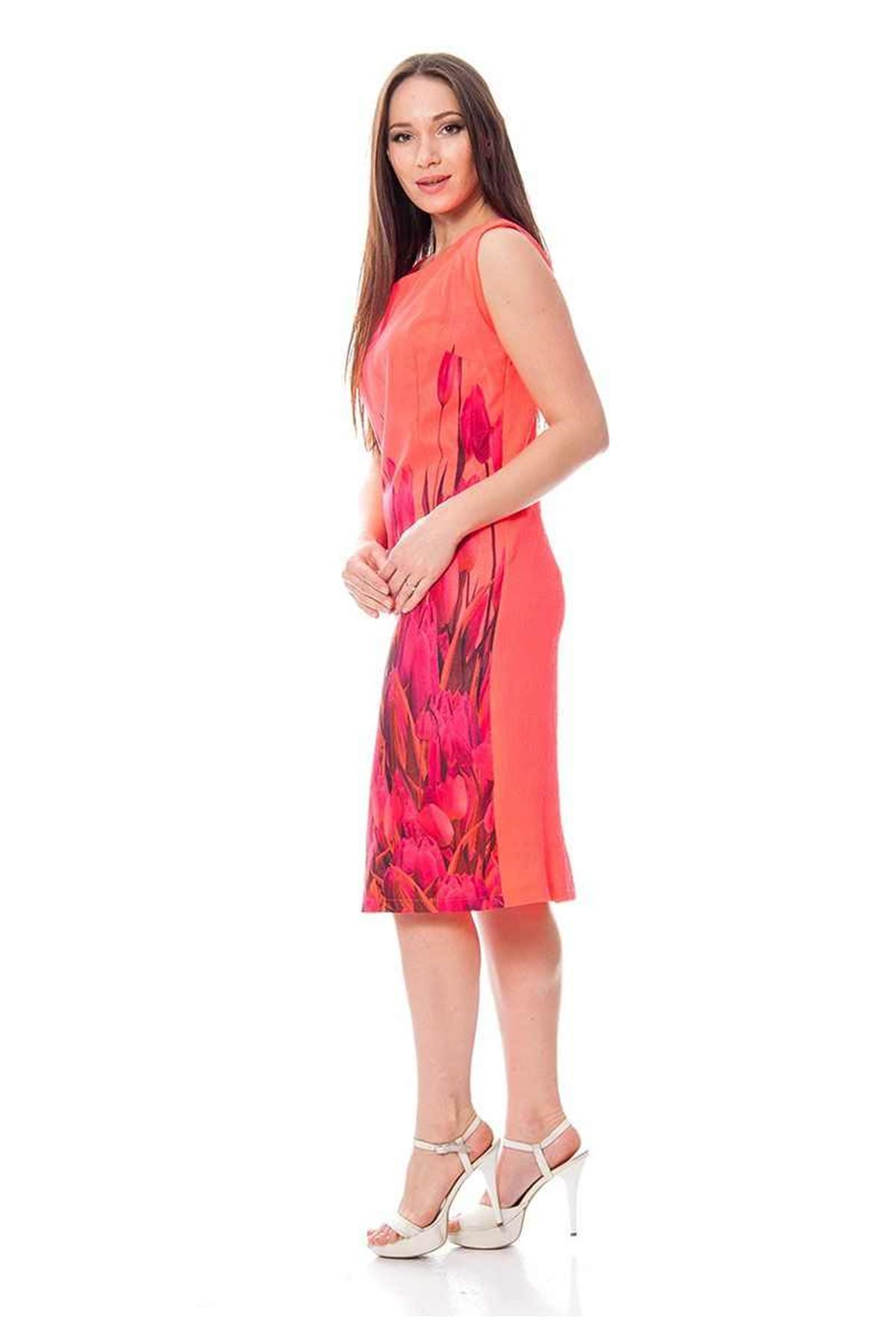 Neon Nar Çiçeği Çiçek Desenli Kadın Elbise I2-112586
