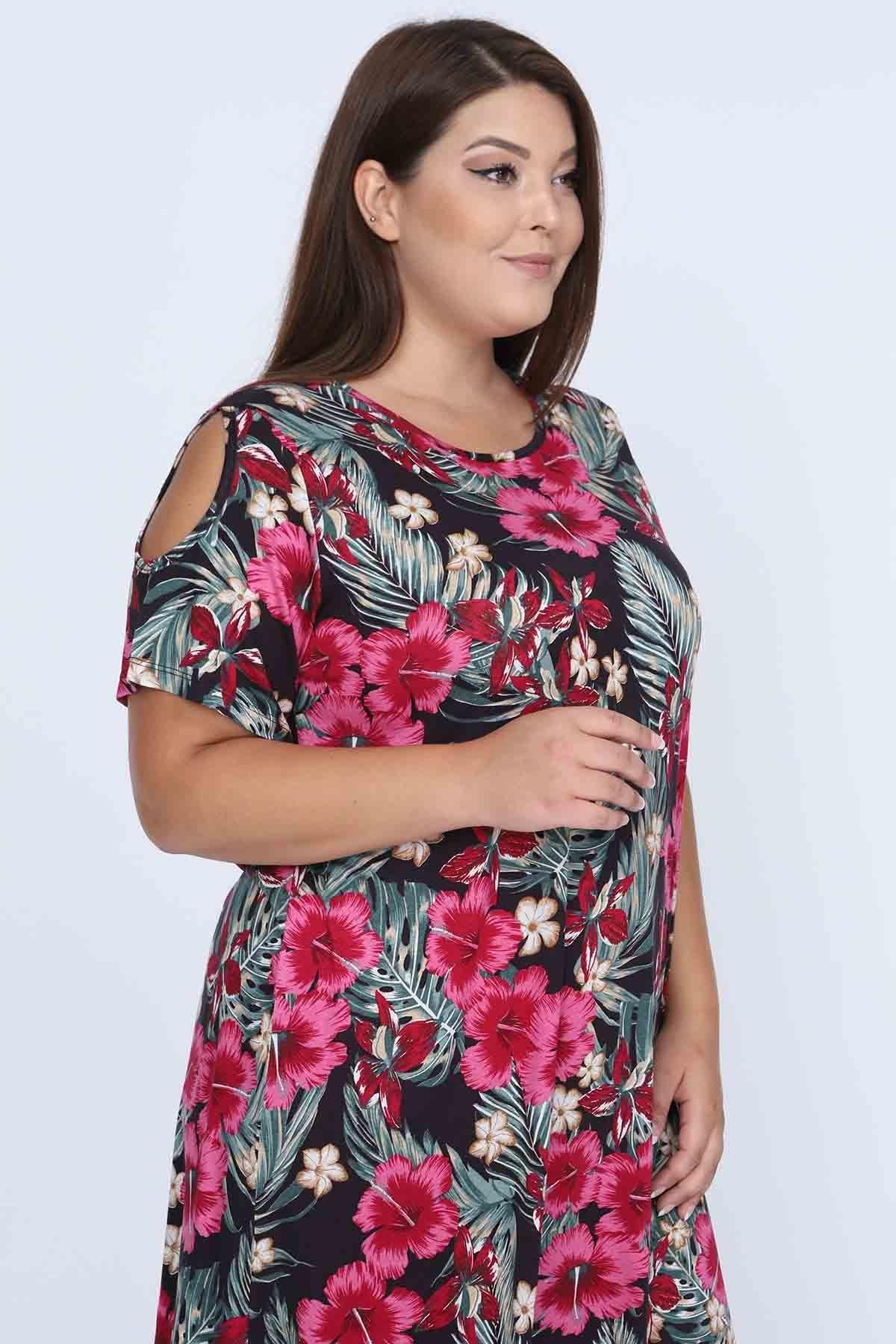 Omuzu Açık Yazlık Esnek Elbise 16A-0684