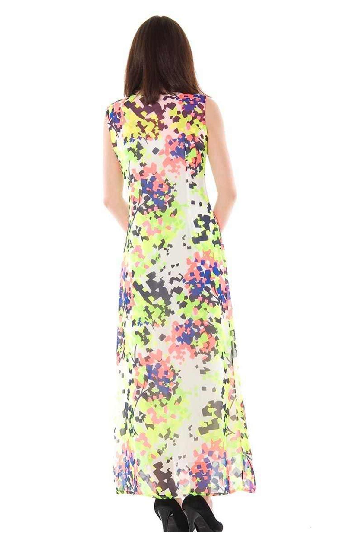 Neon Renkli Uzun Elbise H1-74330
