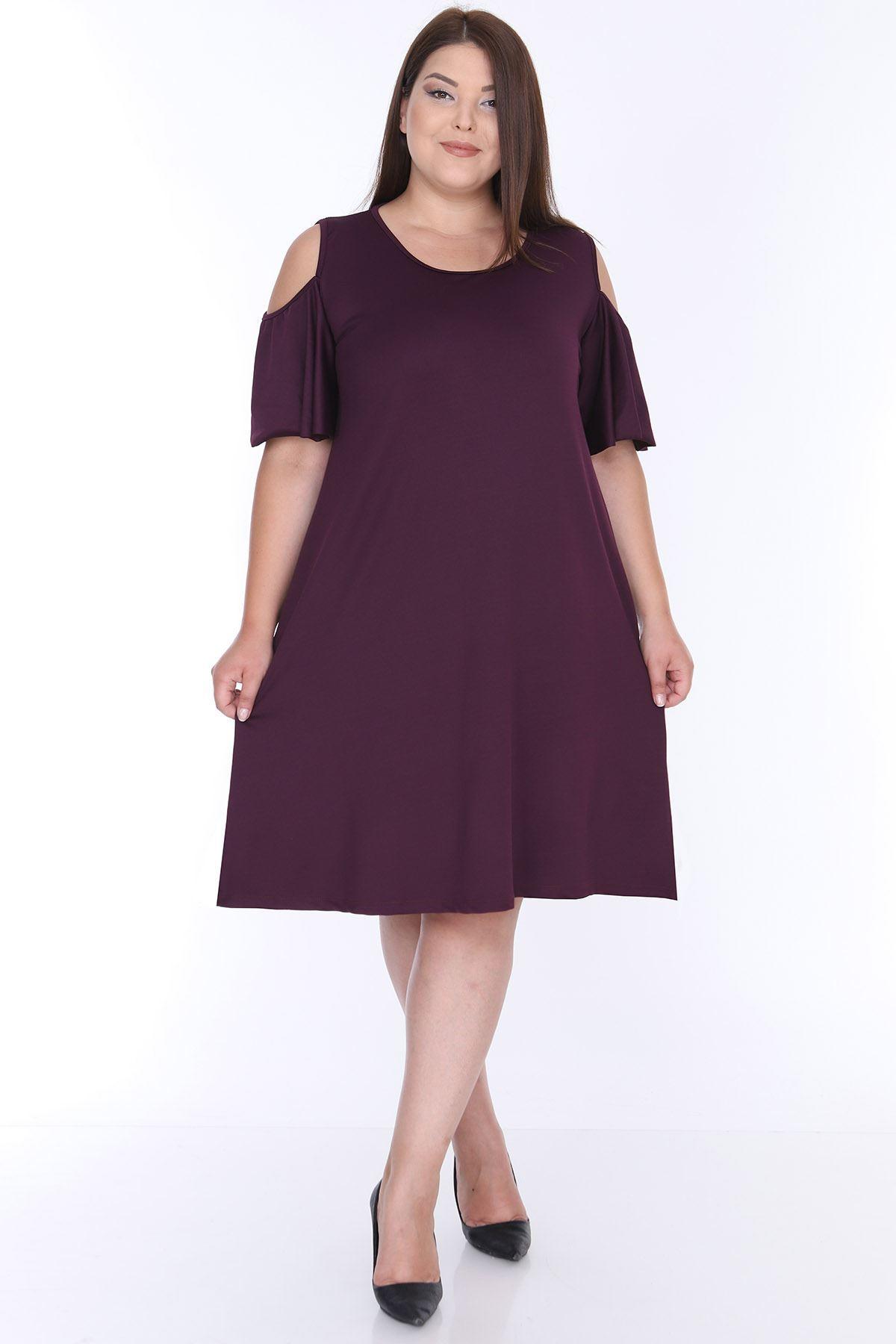 Omuzu Açık Mor Elbise 22E-0647