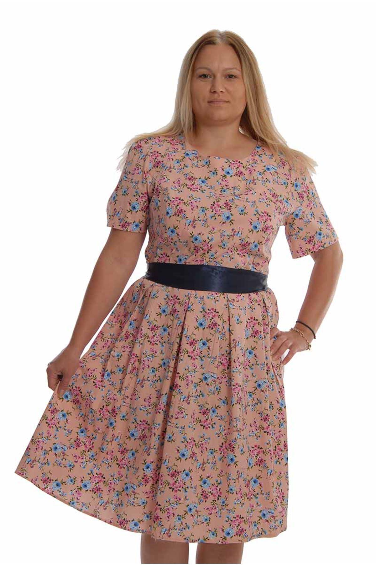 Pudra Çiçekli Elbise K12-68358