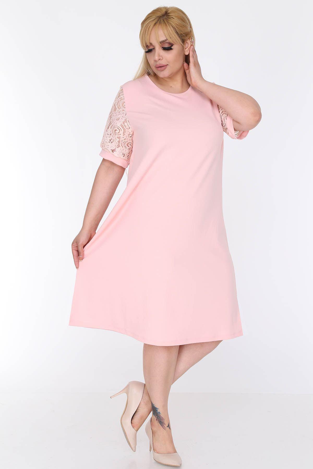 Pudra Dantel Kol Elbise 22D-0583