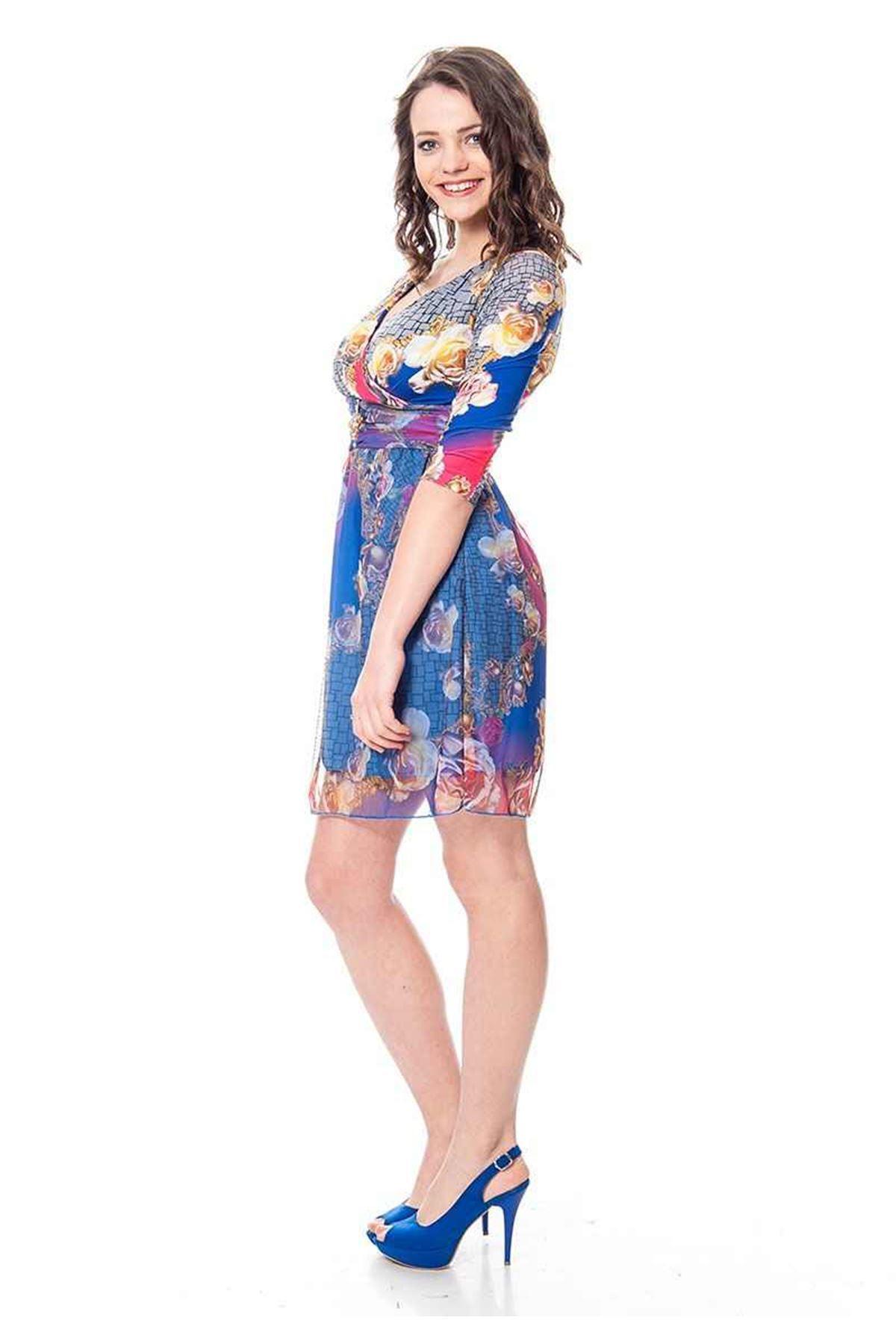 Saks Mavi Çiçekli Elbise F9-106534