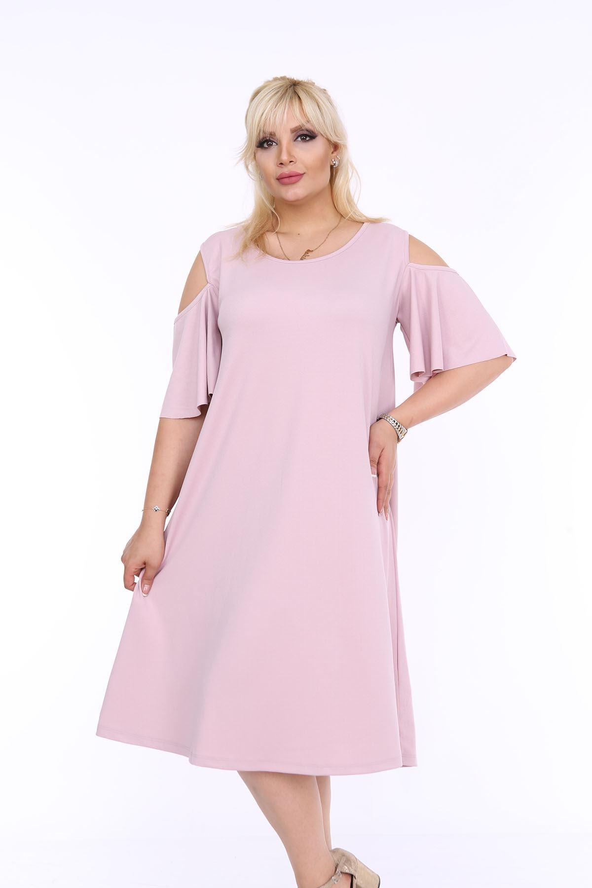 Pudra Yazlık Elbise 1B-0506