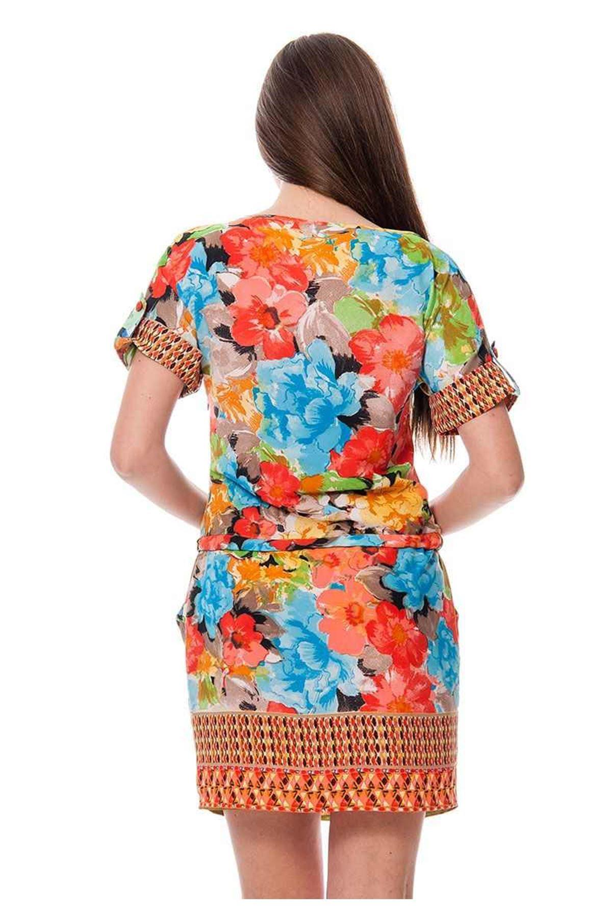 Renkli Desenli Kadın Elbise K11-116099