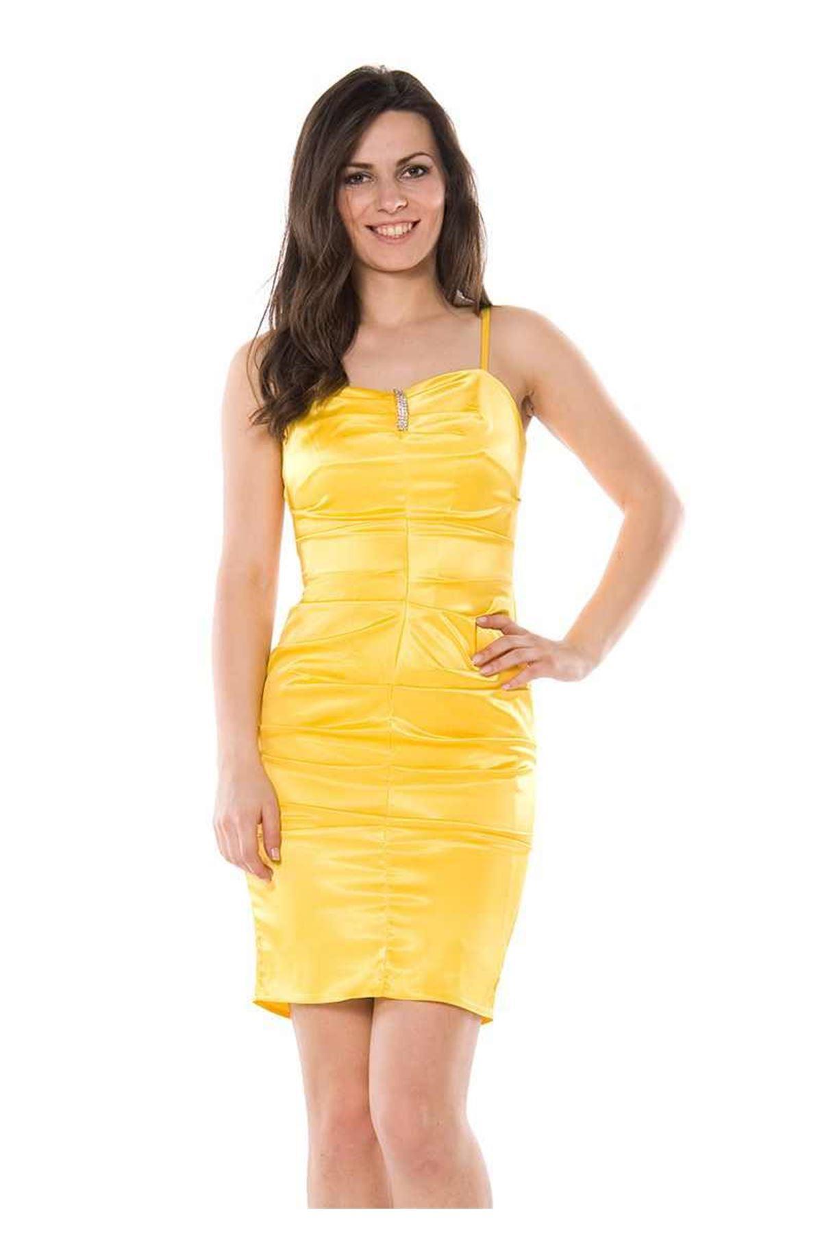 Sarı Abiye Elbise I12-75624