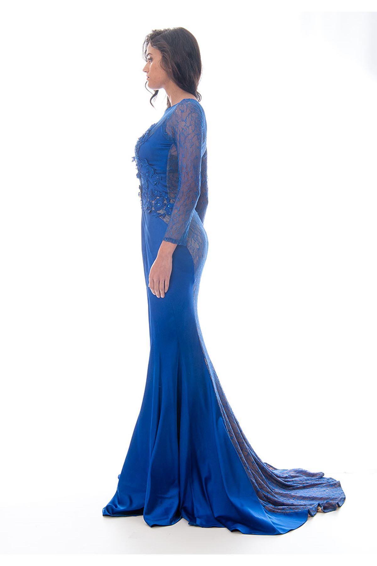 Saks Mavi Taş-Dantel Detaylı Abiye F1-120044
