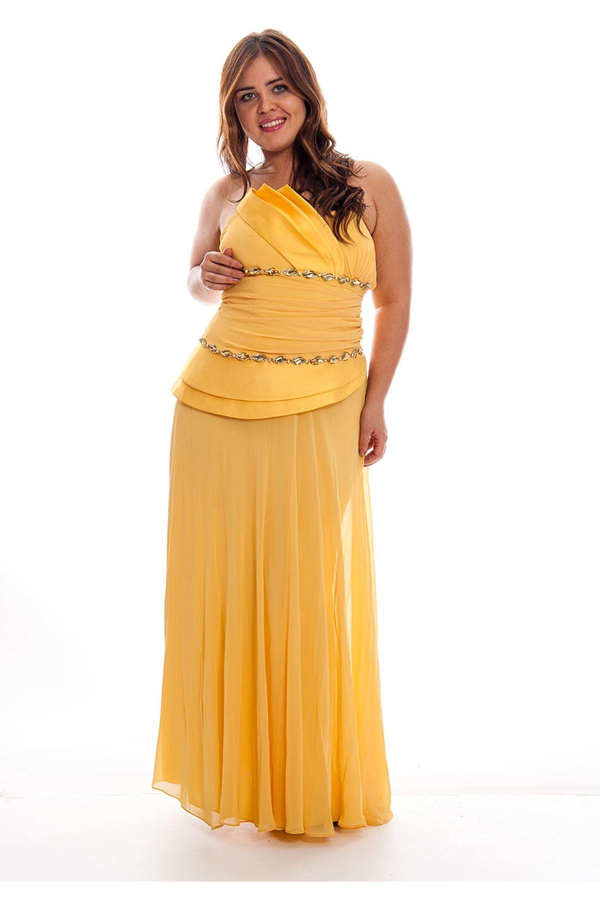 Sarı Abiye Elbise J9-121041