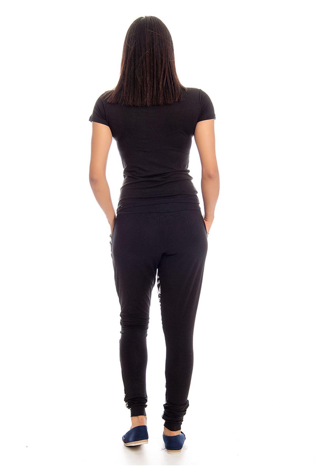 Siyah Beyaz Desenli Eşofman Takımı 14E-129468