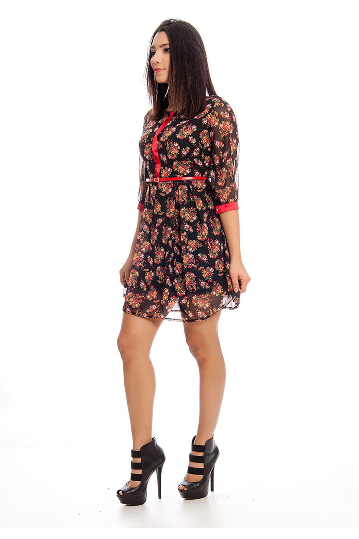 Siyah Çiçek Desenli Kemerli Şifon Kadın Elbise F3-129090A
