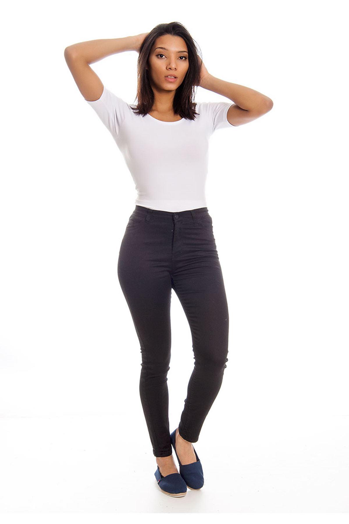Siyah Dar Paça Yüksel Bel Kadın Pantolon 4A-126087