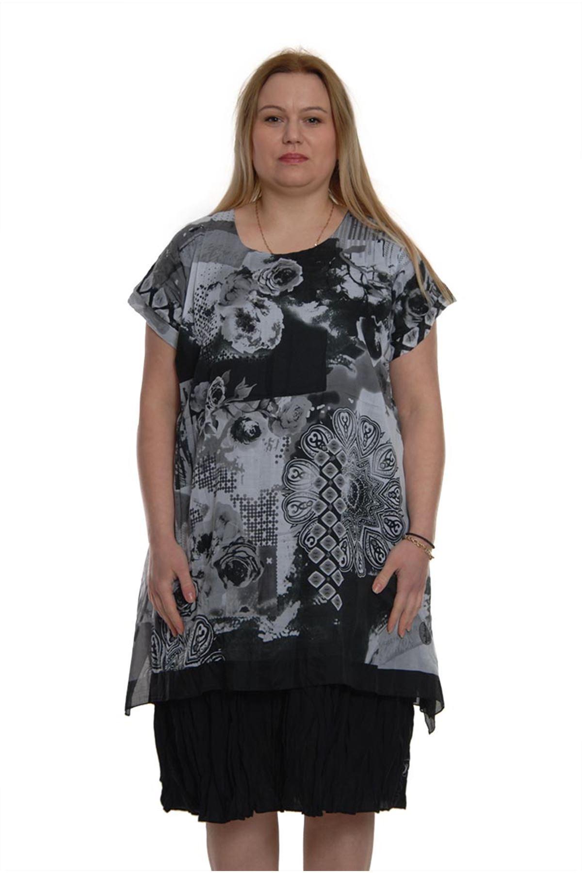 Siyah Beyaz elbise 16A-2016