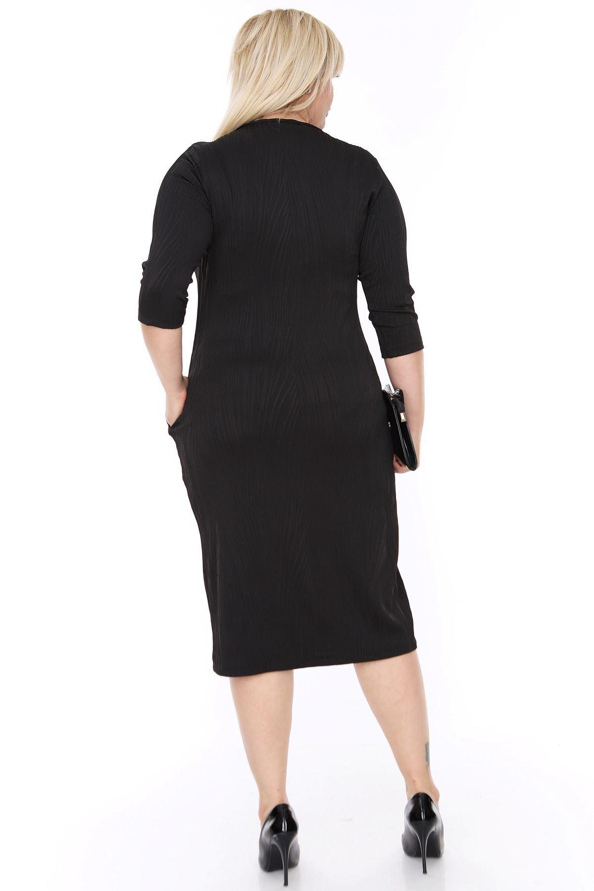 Siyah Cepli Esnek Elbise 18D-0430