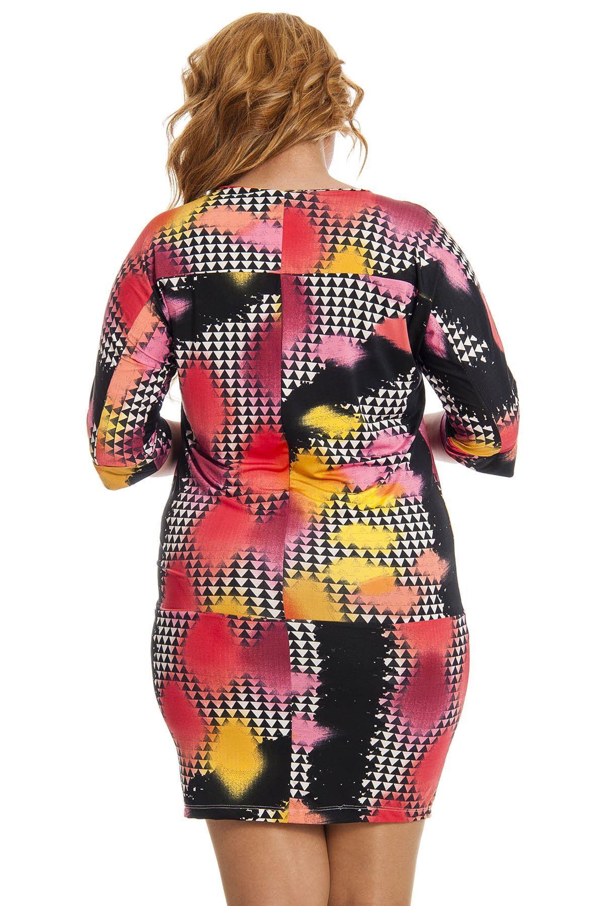 Siyah Desenli Kadın Elbise F1-123030