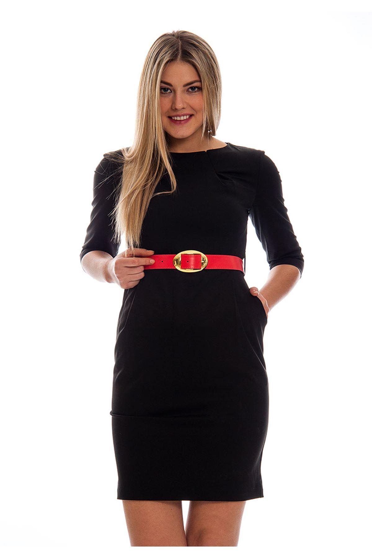 Siyah Kemerli Kadın Elbise F7-121371