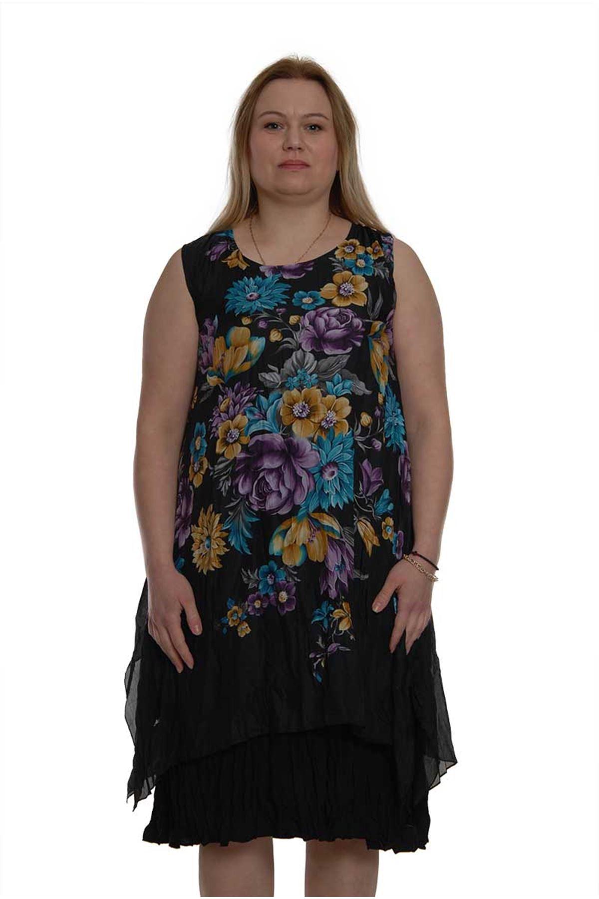 Siyah Kolsuz Büyük Beden Elbise 16B-1505