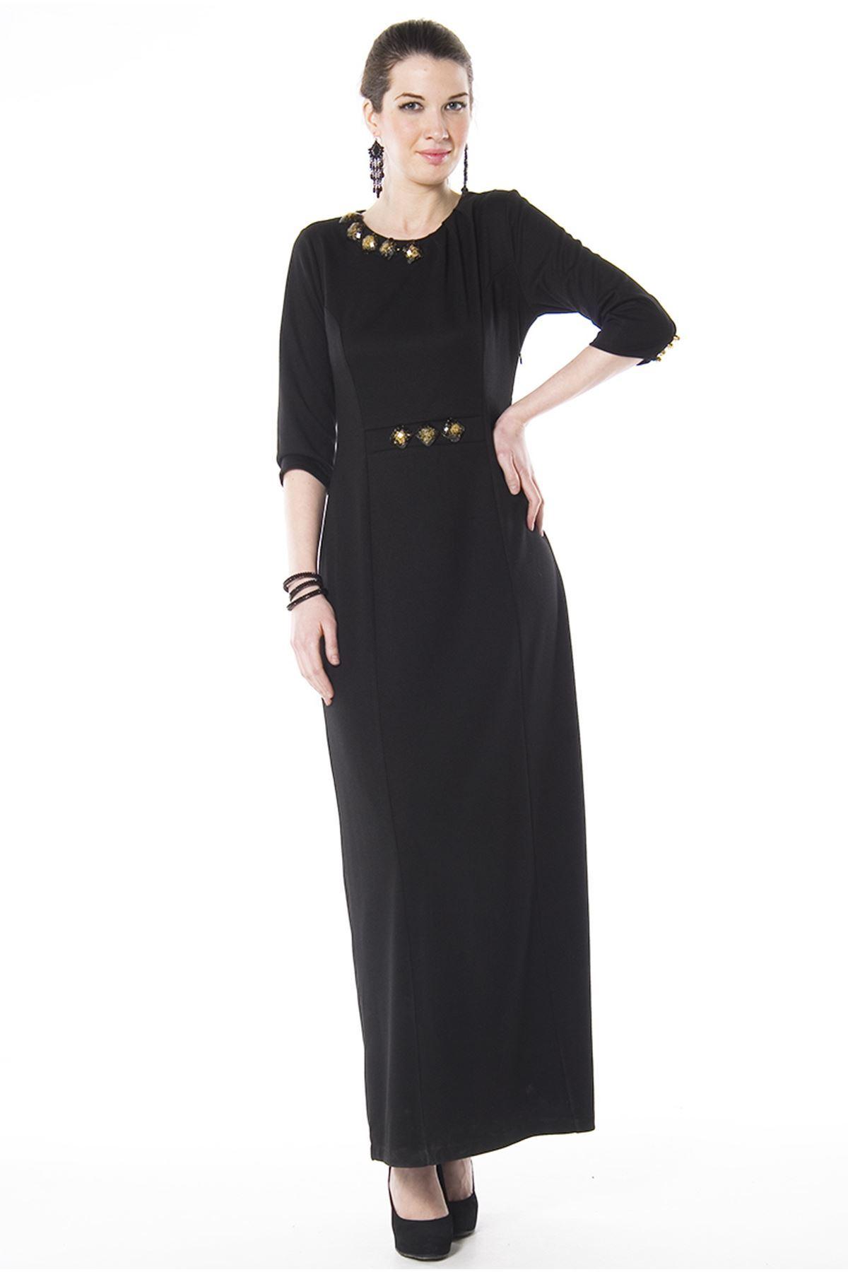 Siyah Uzun Elbise H8-67425