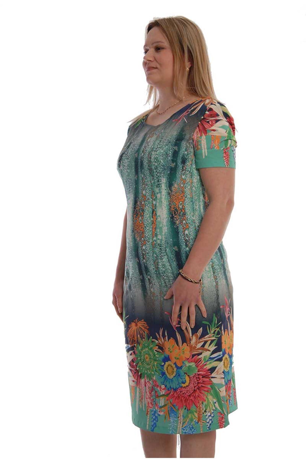 Su Desenli Elbise F7-67445