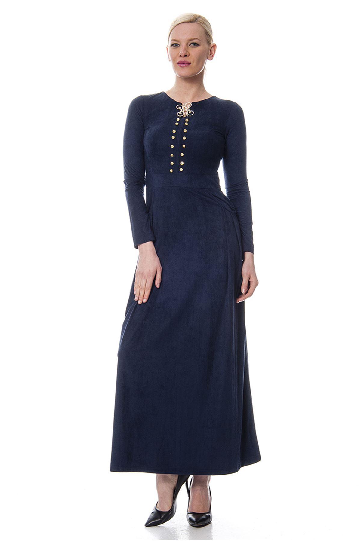 Süet Yaka Detaylı Elbise G9-113291