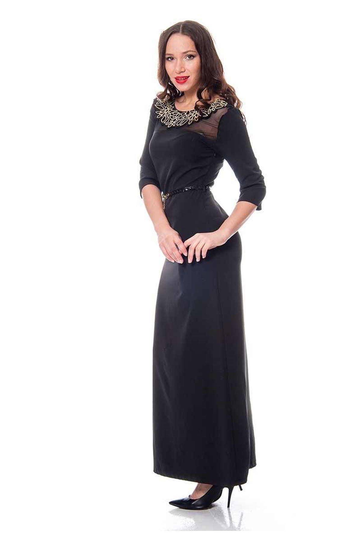 Siyah Yaka İşlemeli Elbise  H1-110732