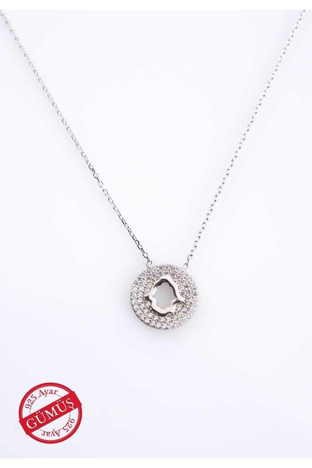 Taşlı Fatmanın Eli Gümüş Kolye Gk-75078