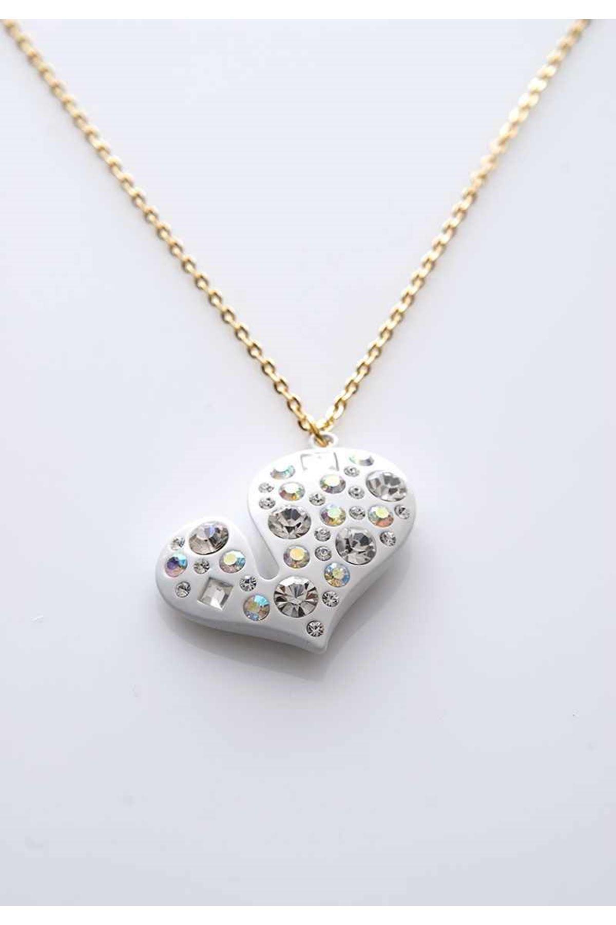 Taşlı Kalp Uzun Kolye 8Ç-103615