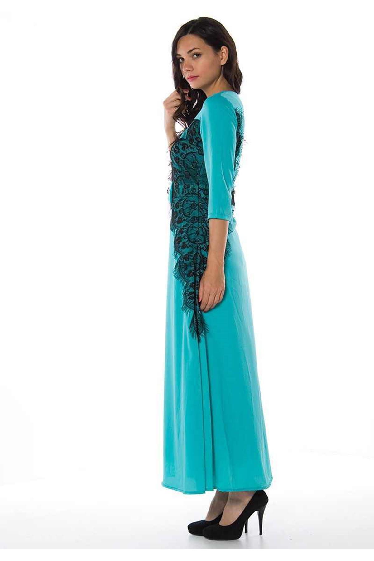 Vesnina Mint Yeşil Dantelli Uzun Elbise G1-82746