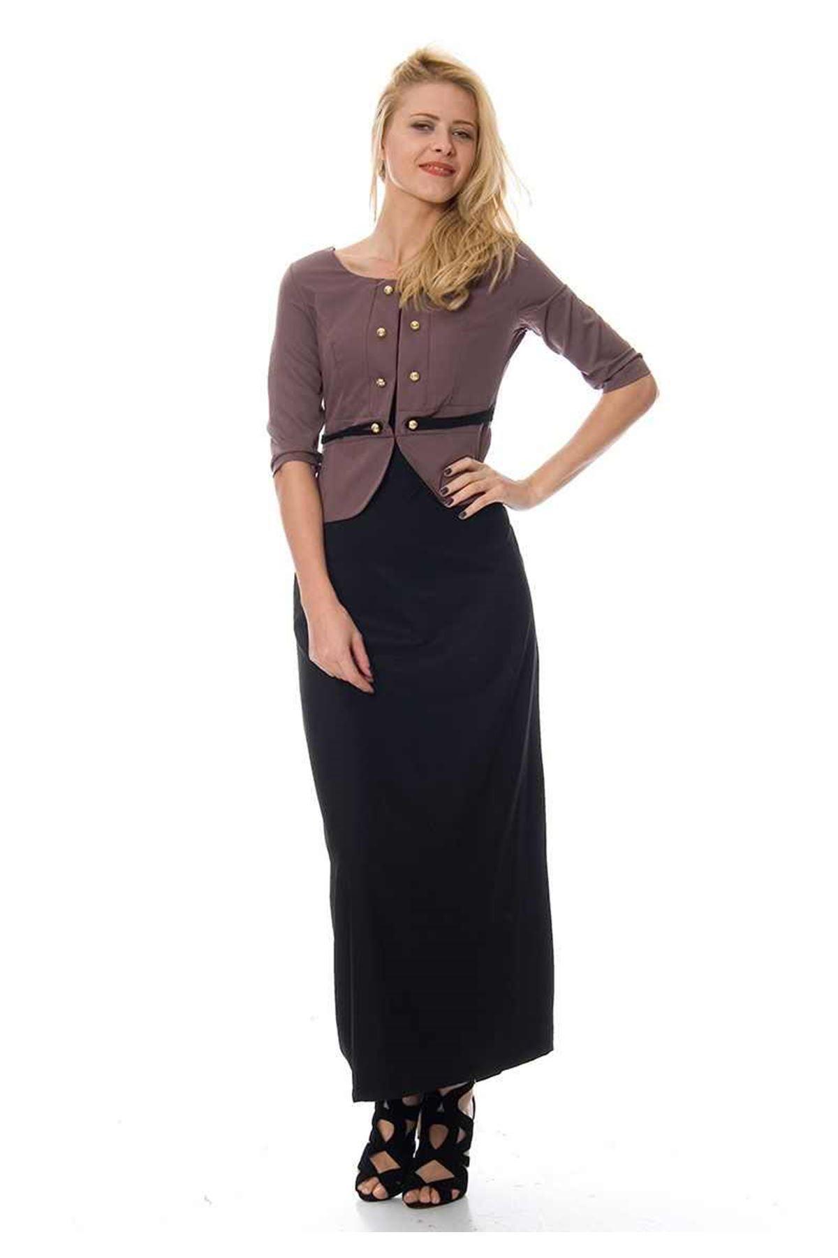 Vizon Volanlı Elbise F1-104092