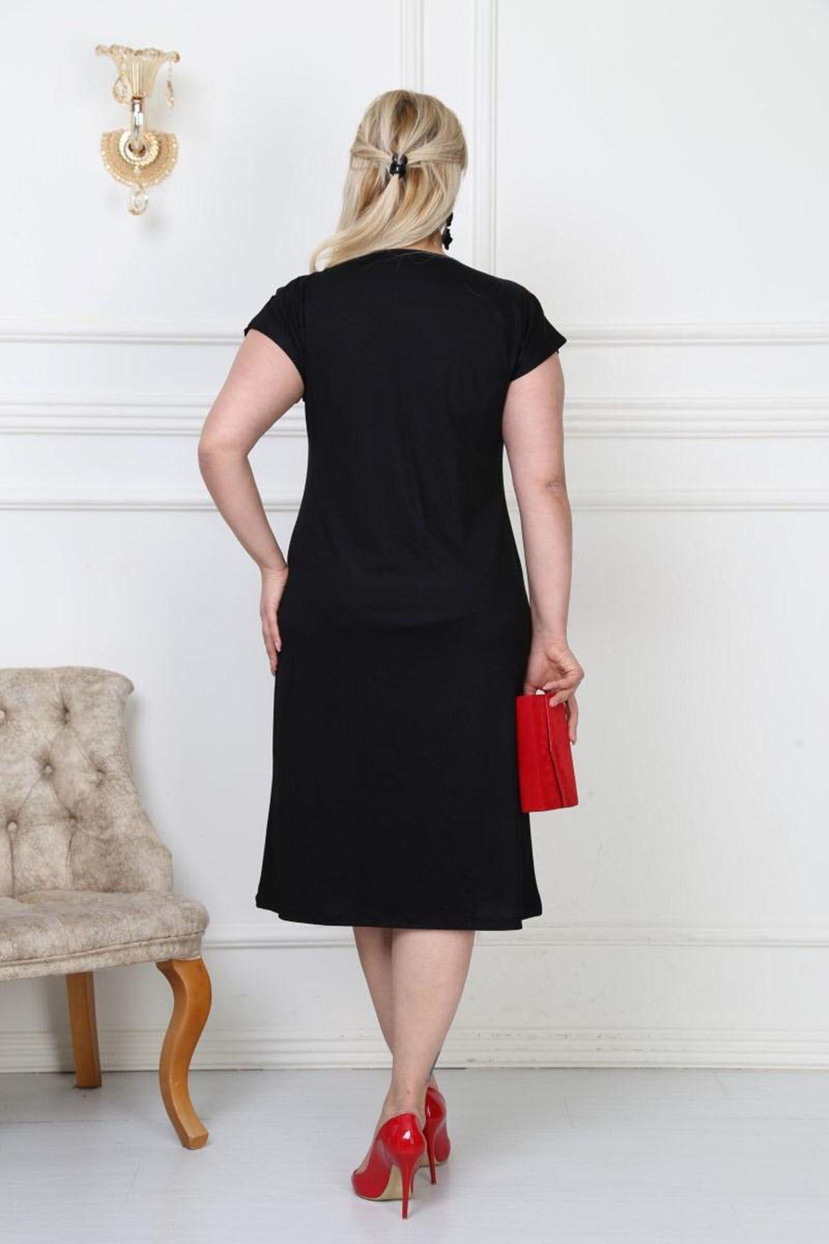 Yaka Detaylı Elbise 6E-0496