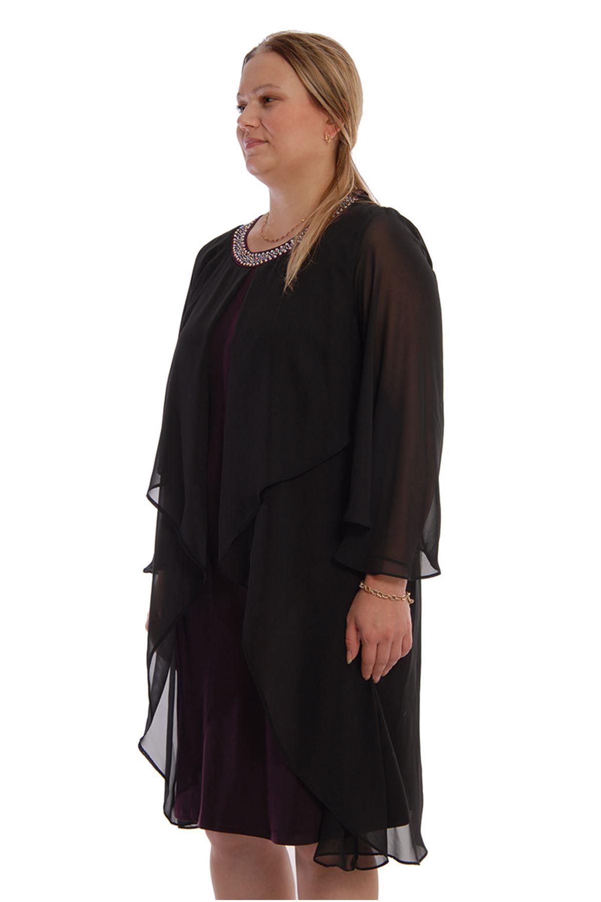 Yaka Taşlı Abiye Elbise F6-6807