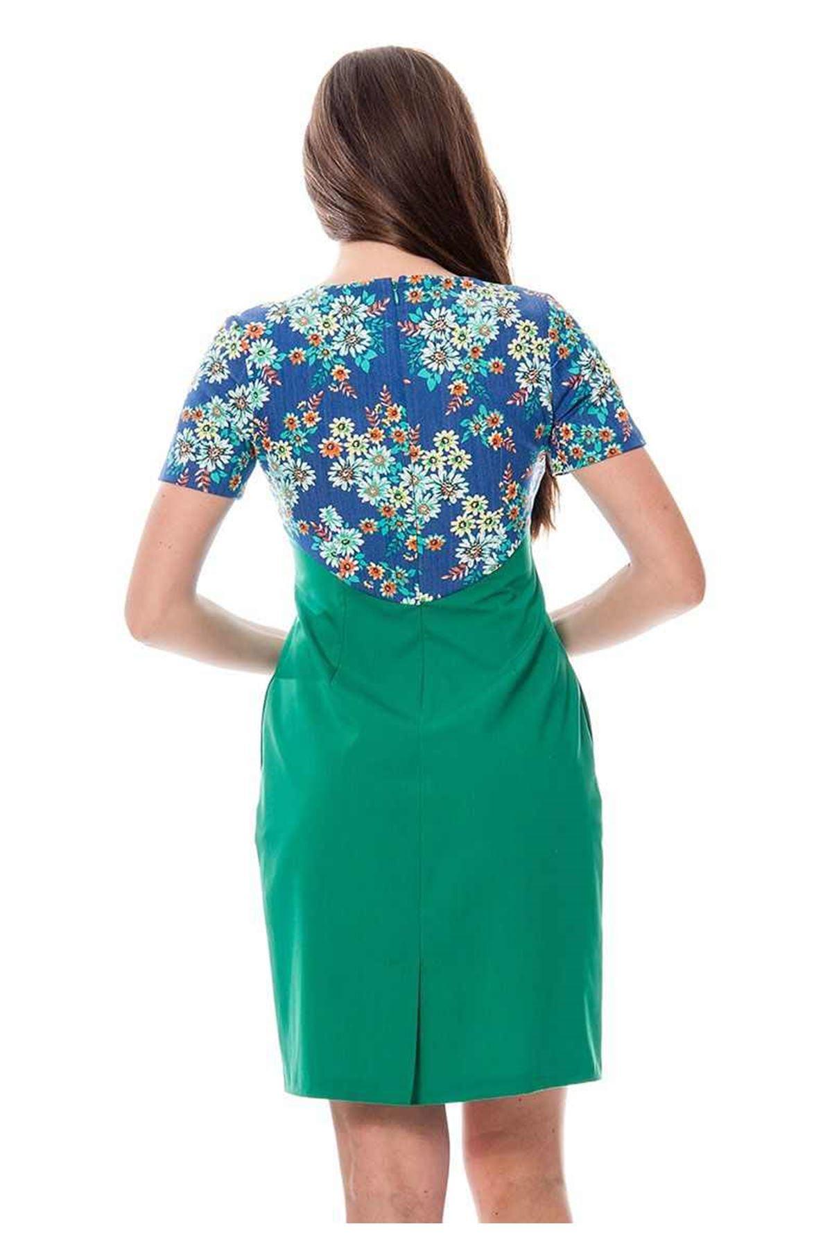 Yeşil Çiçek Desenli Elbise F3-115938