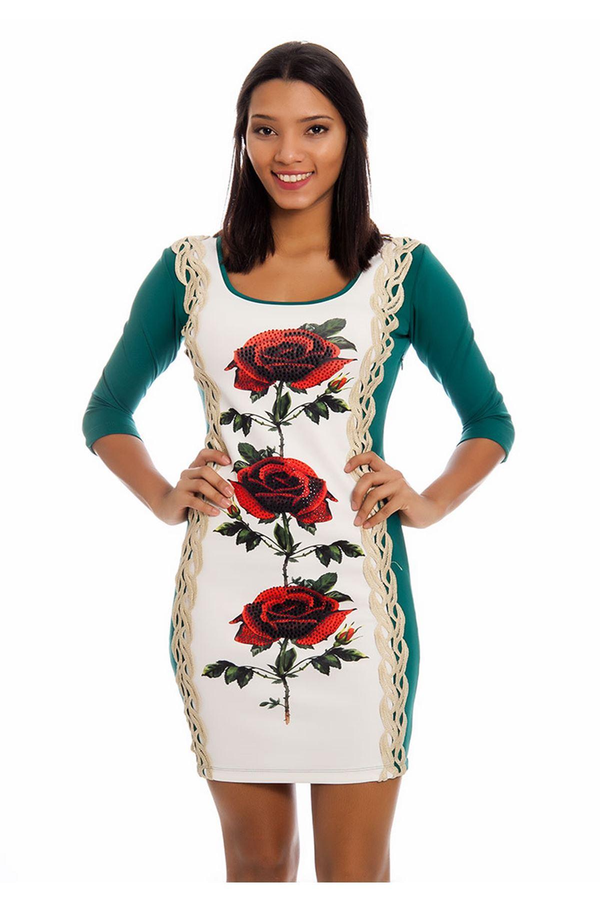 Yeşil Gold-Taş Detaylı Kadın Elbise F6-125842