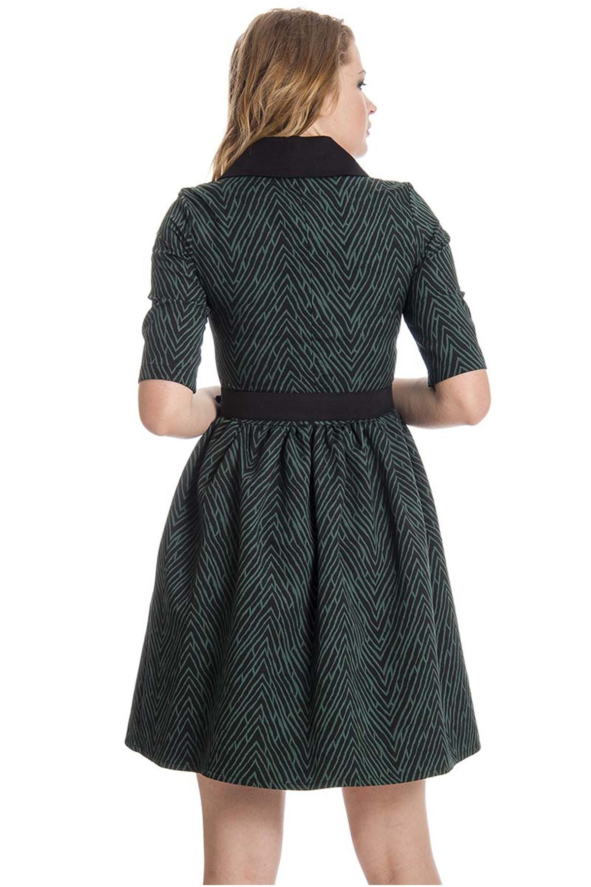 Yeşil Desenli Bebe Yaka Kadın Elbise G2-126788