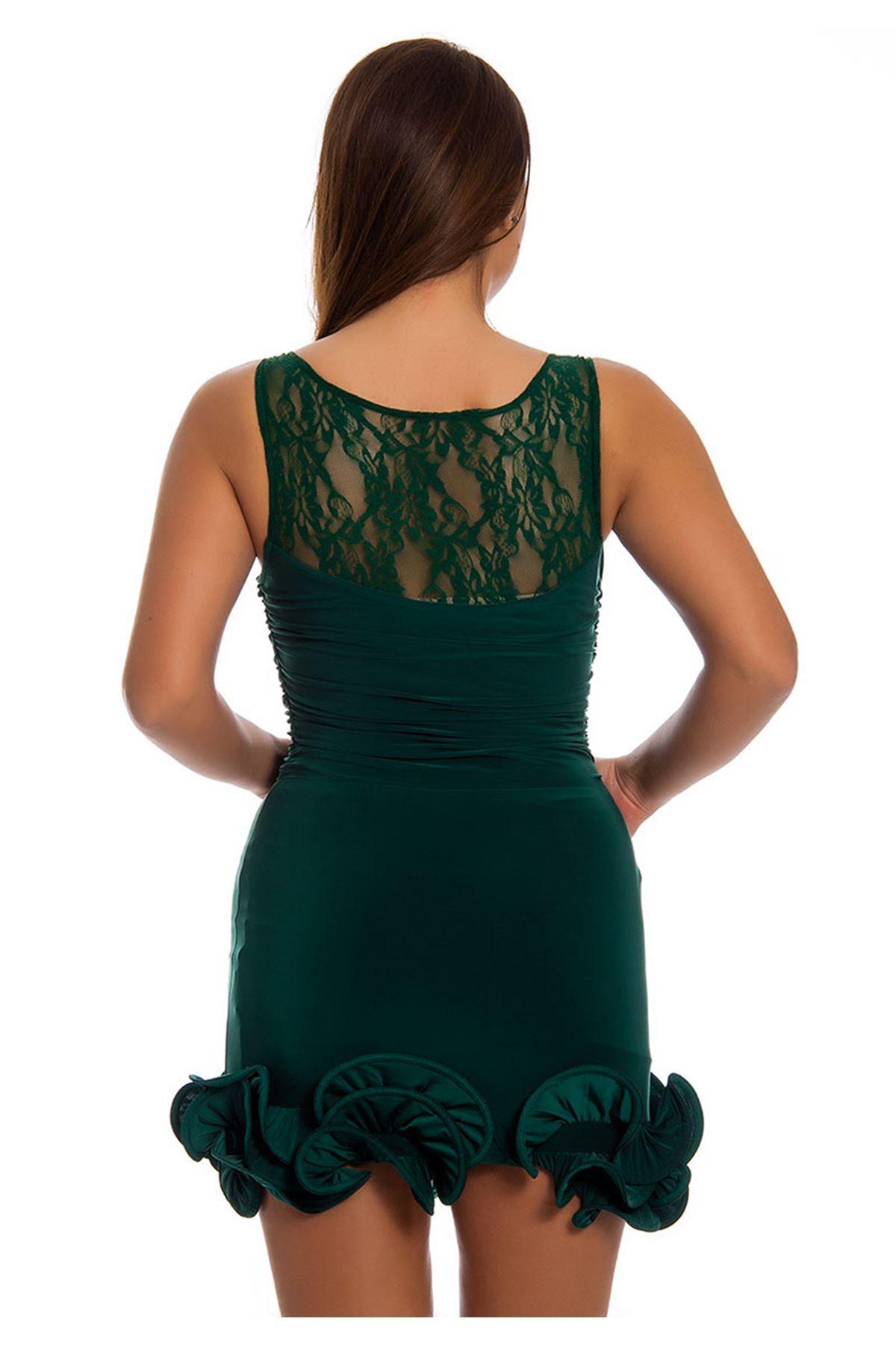 Yeşil Fırfırlı Abiye Elbise I12-124157