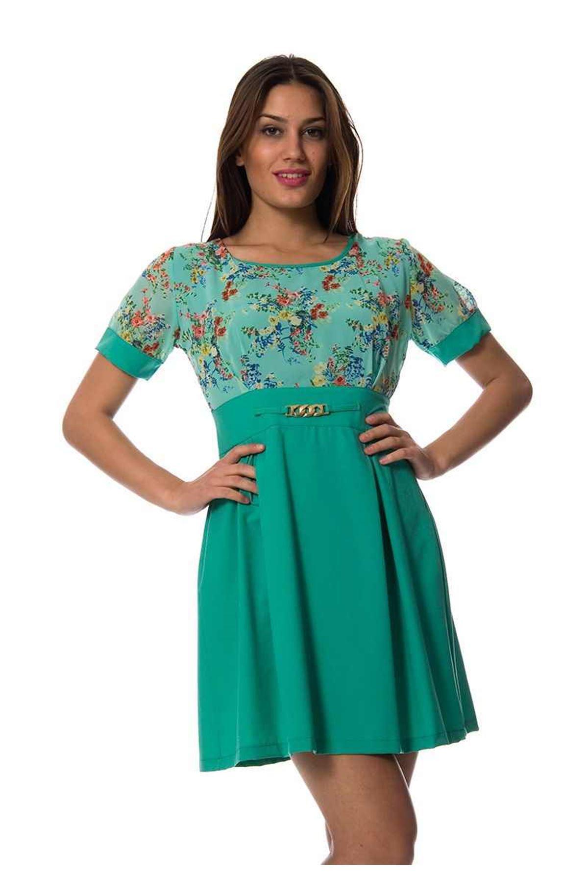 Yeşil Çiçekli Elbise I4-94881