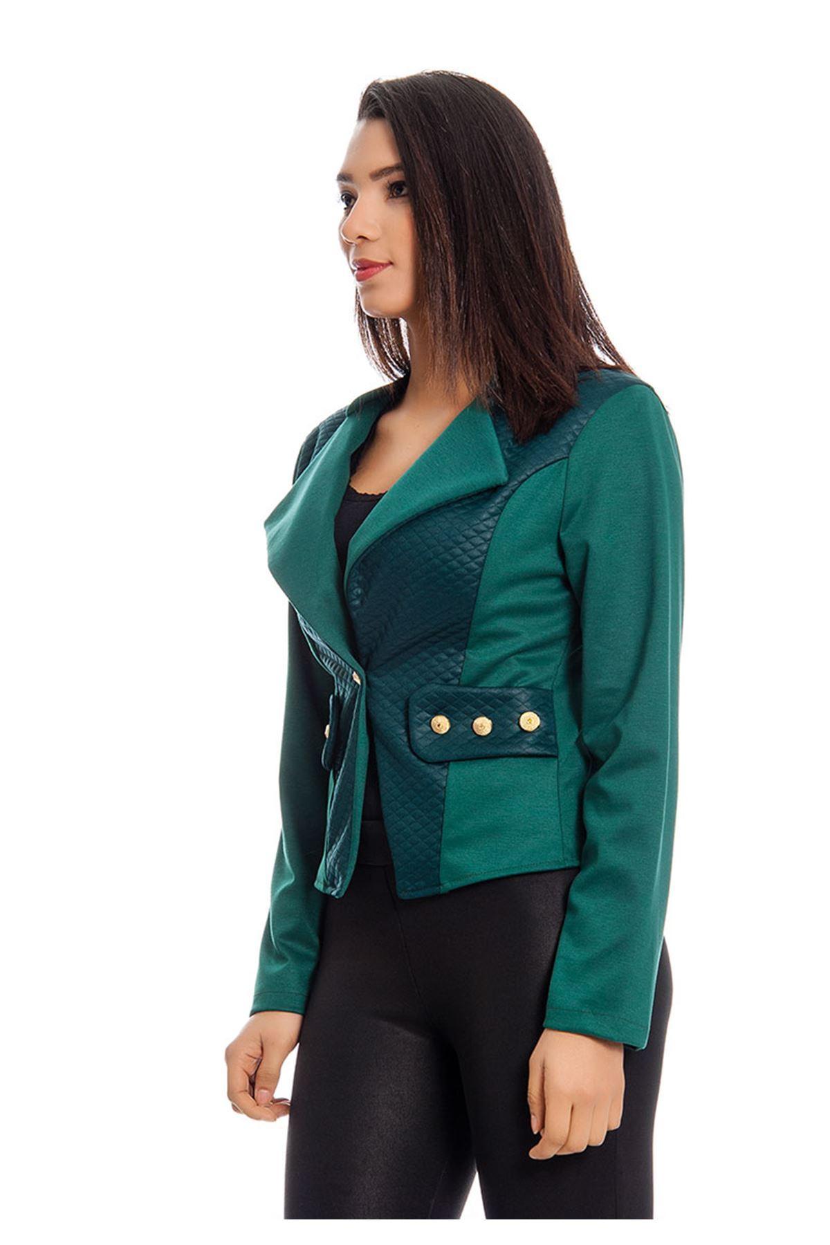 Yeşil Kapitone Desenli Kadın Ceket j11-129000