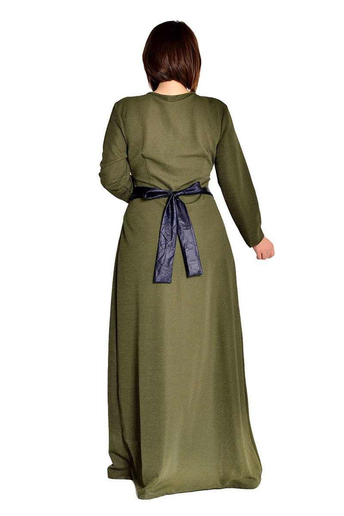 Yeşil Simli Kumaş Elbise F1-105977