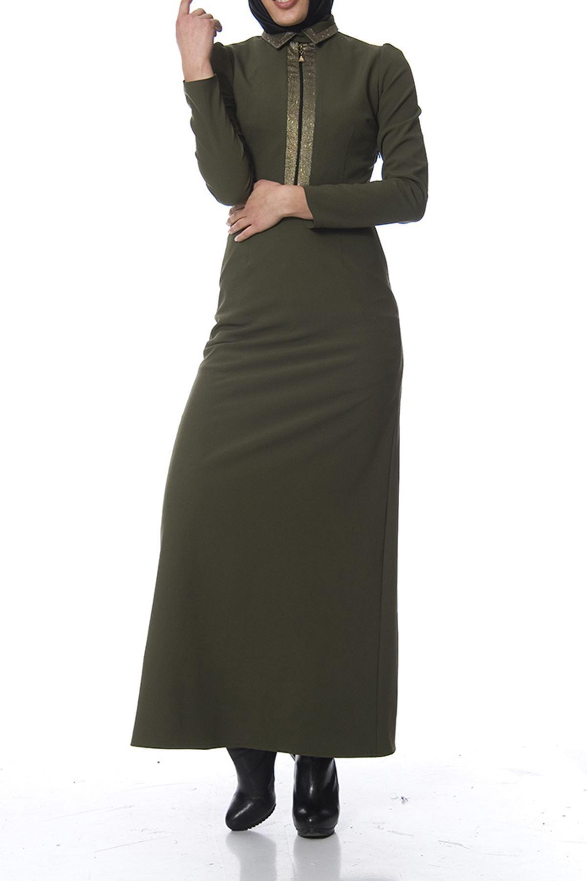 Yeşil Nakış Detaylı Elbise K7-100482