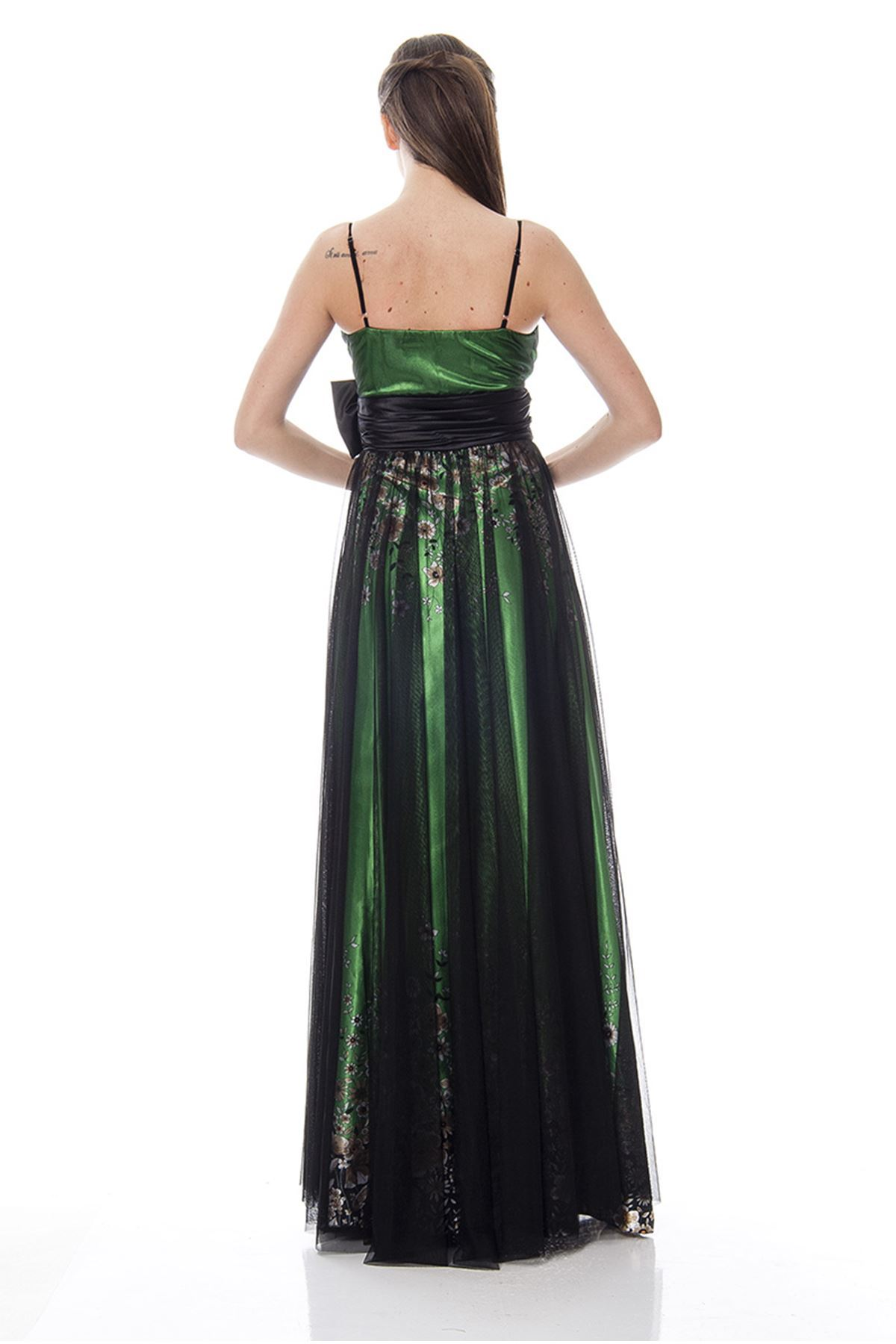 Yeşil Tül Detaylı Abiye H1-115917