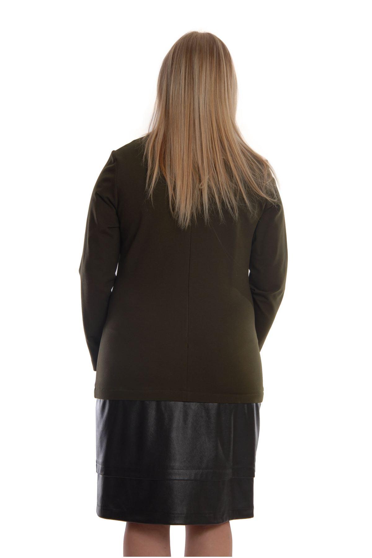 Yeşil Siyah Derili Tek Parça Elbise K2-68932