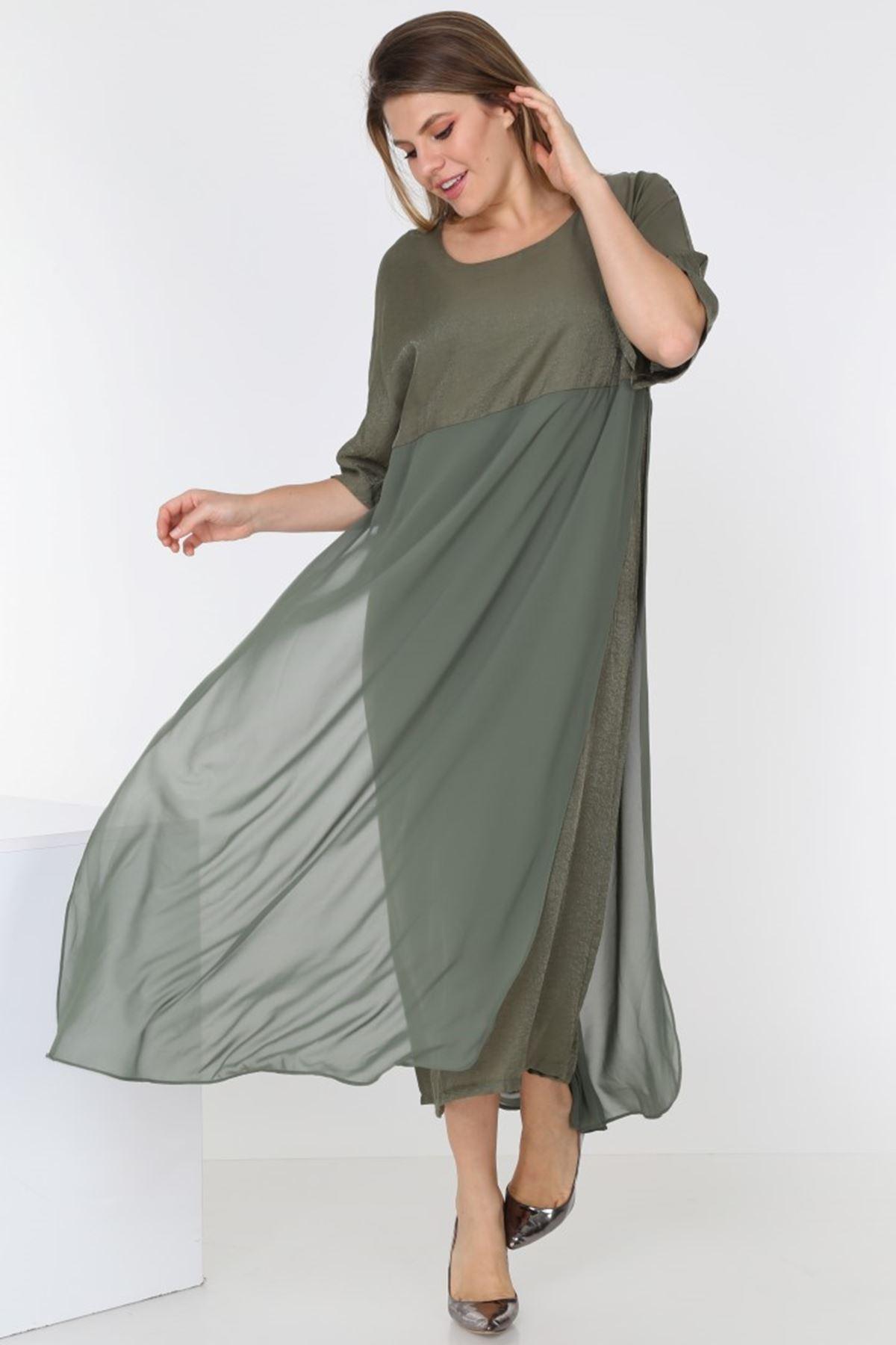 Yeşil Uzun Elbise 2B-0556
