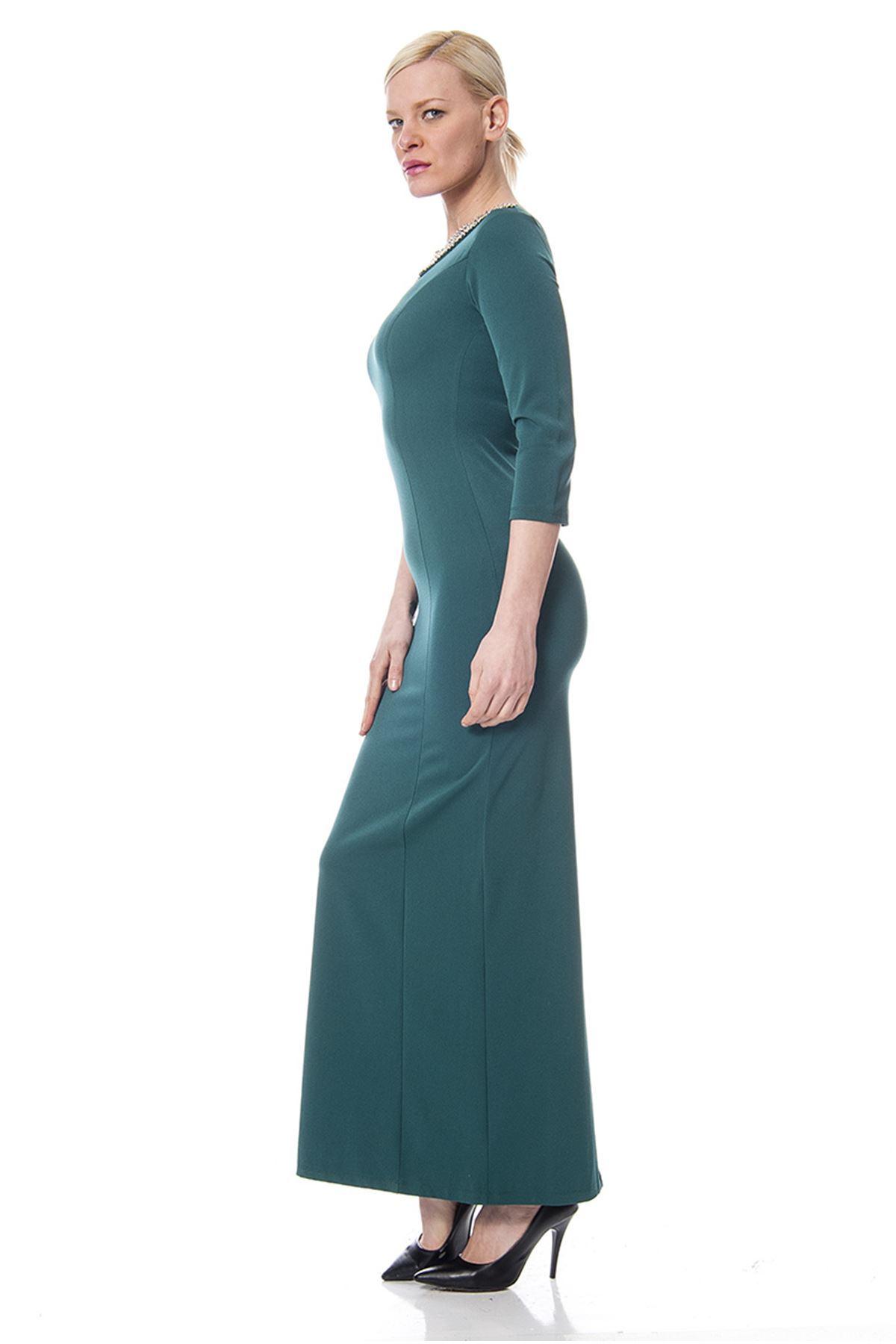 Yeşil Taş İşlemeli Elbise G9-113387